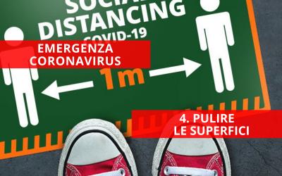 Emergenza Coronavirus: prodotti per la pulizia delle superfici