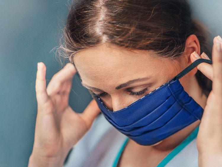 Ansiktsmask av antibakteriallt tyg