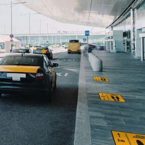 Golvgrafik håll avståndet vid taxi