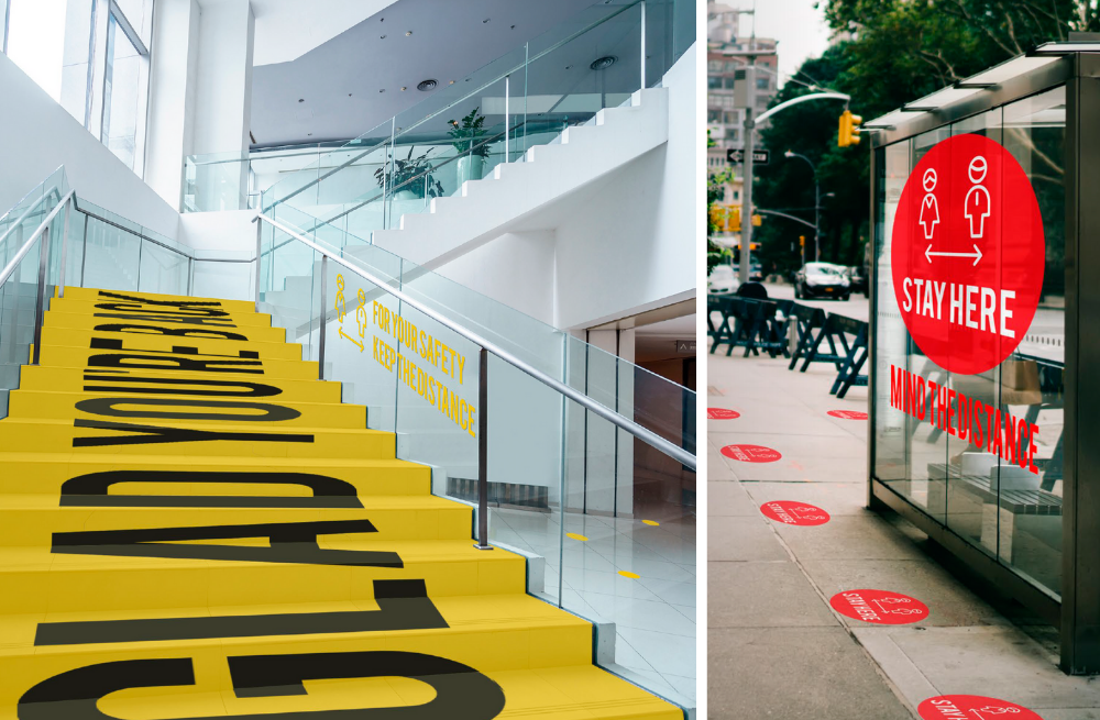 Esempi di floor graphics con materiale calpestabile 3M™